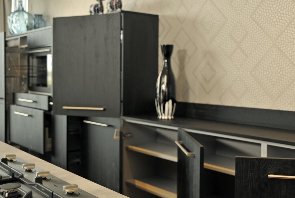 Showroom keukens Fijnproevers Sherwood eiken zwart
